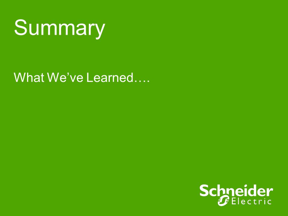 Summary What We've Learned….