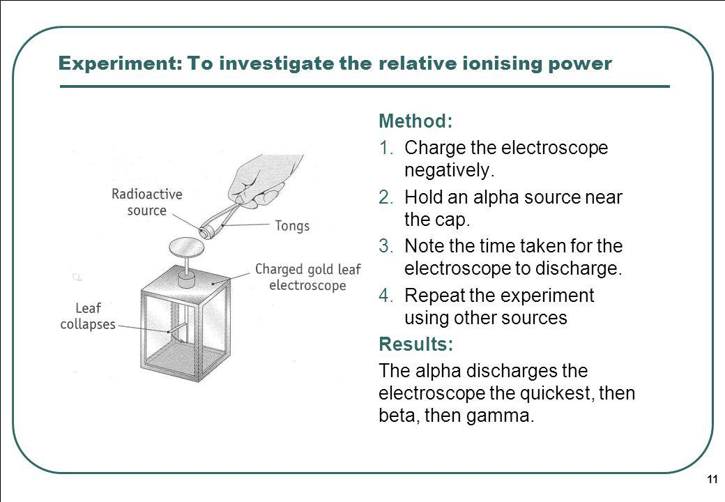 Experiment: To investigate the relative ionising power