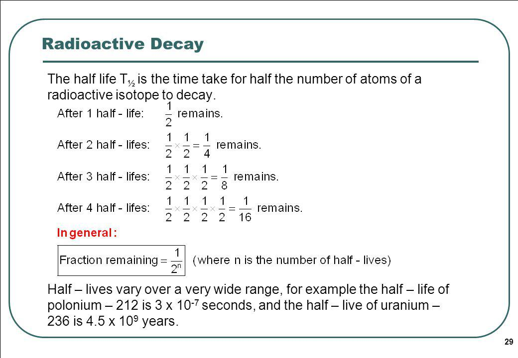 Radioactive Decay The half life T½ is the time take for half the number of atoms of a radioactive isotope to decay.