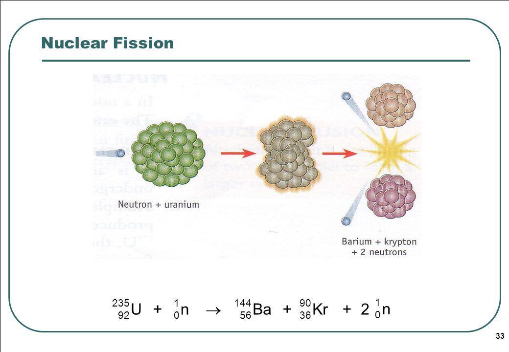 Nuclear Fission  U n + Ba Kr 2 235 92 1 144 56 90 36 Radioactivity