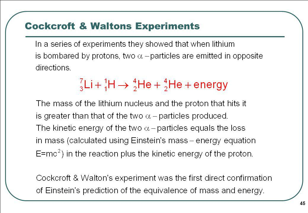 Cockcroft & Waltons Experiments