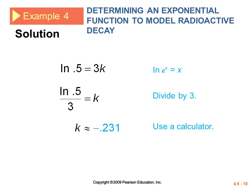 DETERMINING AN EXPONENTIAL FUNCTION TO MODEL RADIOACTIVE DECAY