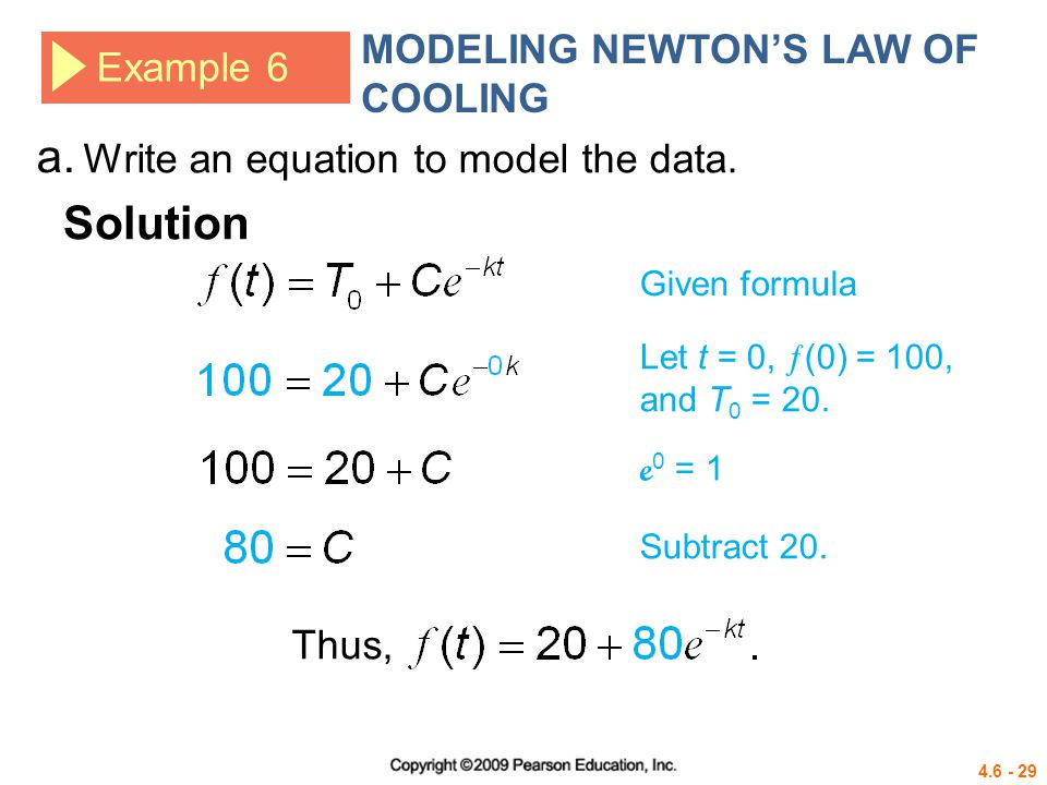 a. Solution MODELING NEWTON'S LAW OF COOLING Example 6