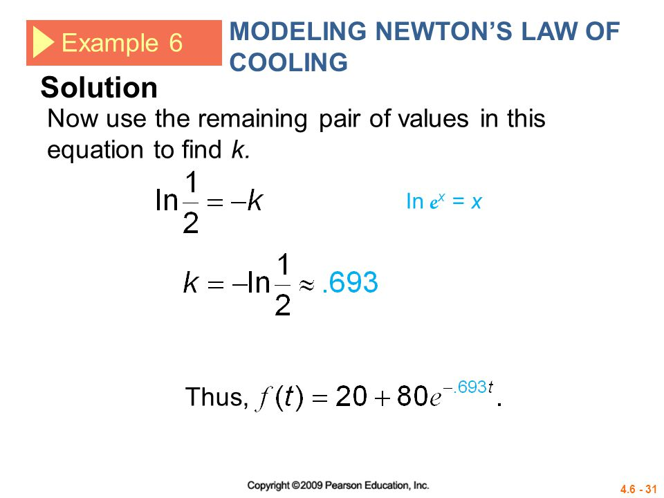 Solution MODELING NEWTON'S LAW OF COOLING Example 6
