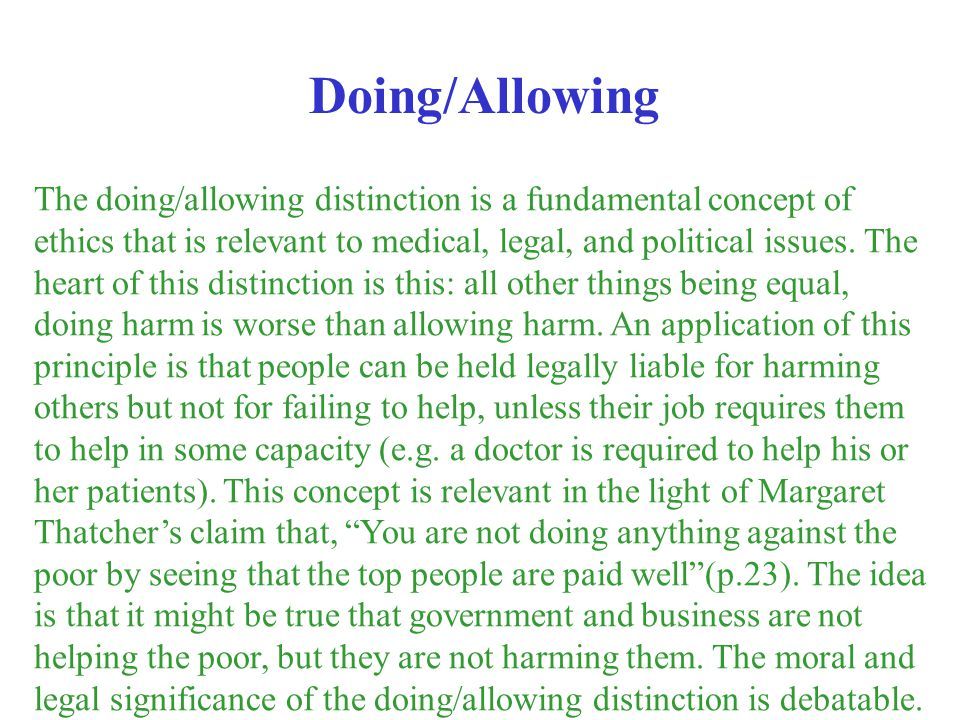 Doing/Allowing