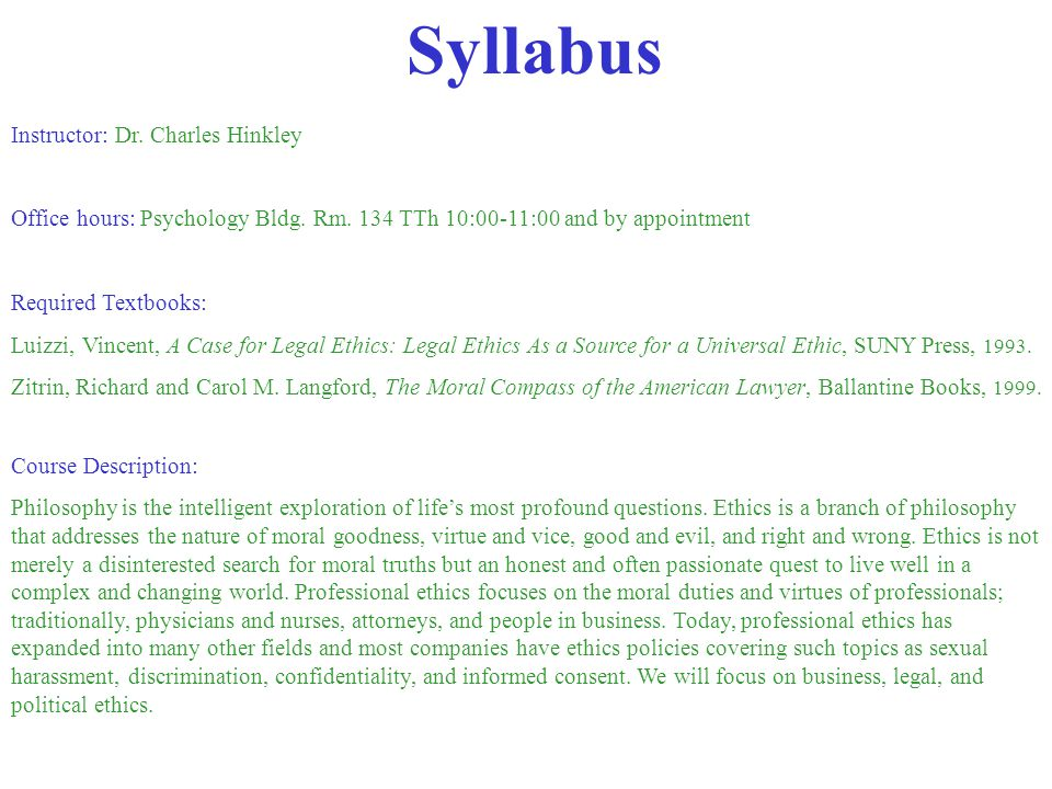 Syllabus Instructor: Dr. Charles Hinkley