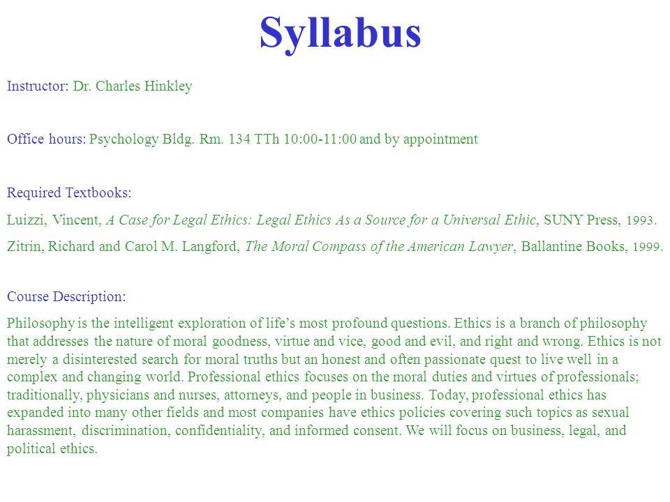 Syllabus Instructor: Dr. Charles Hinkley