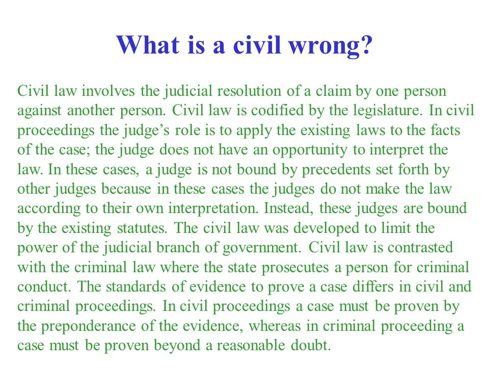 What is a civil wrong