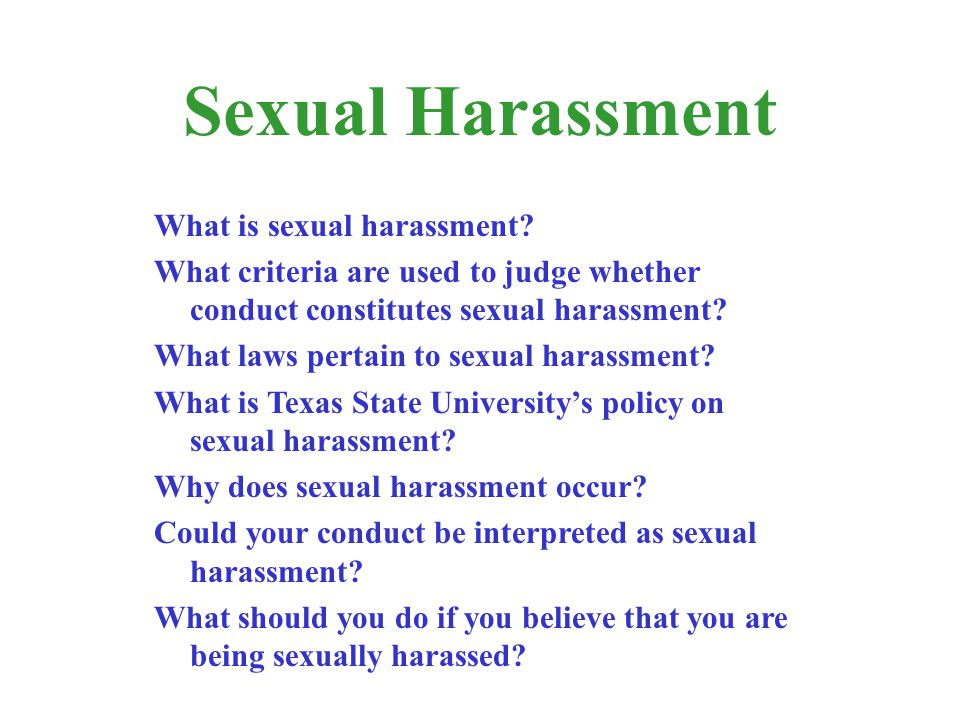 Sexual harassment and church policy
