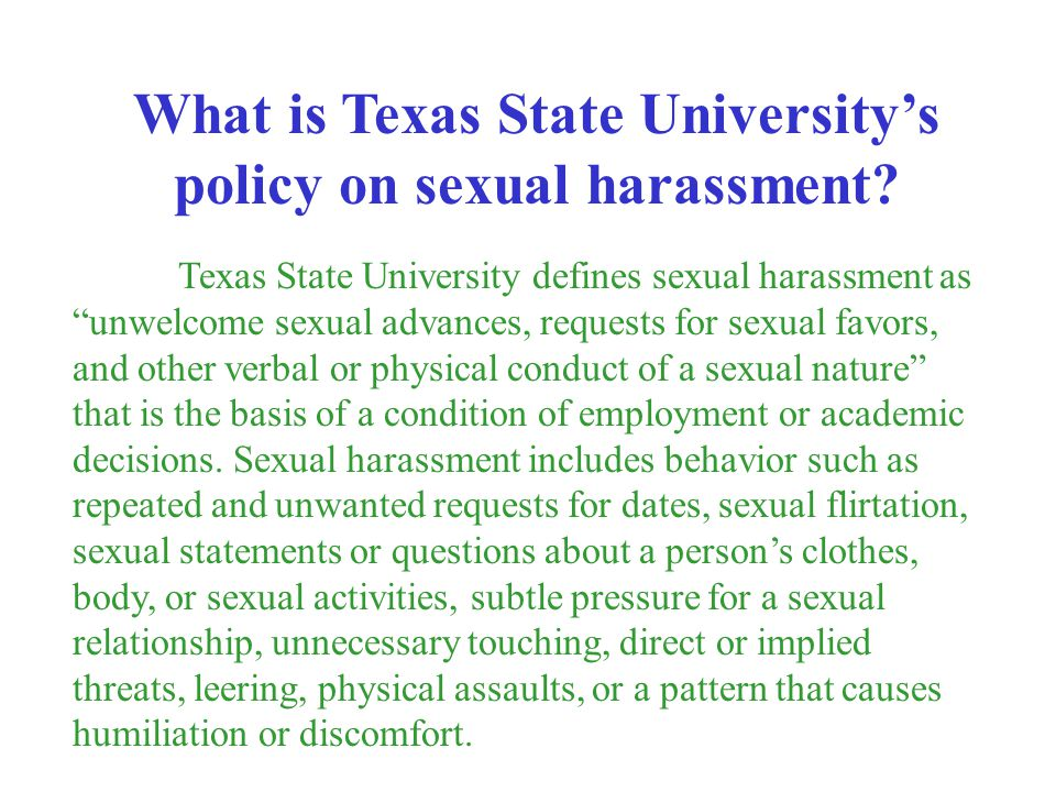 What is Texas State University's policy on sexual harassment