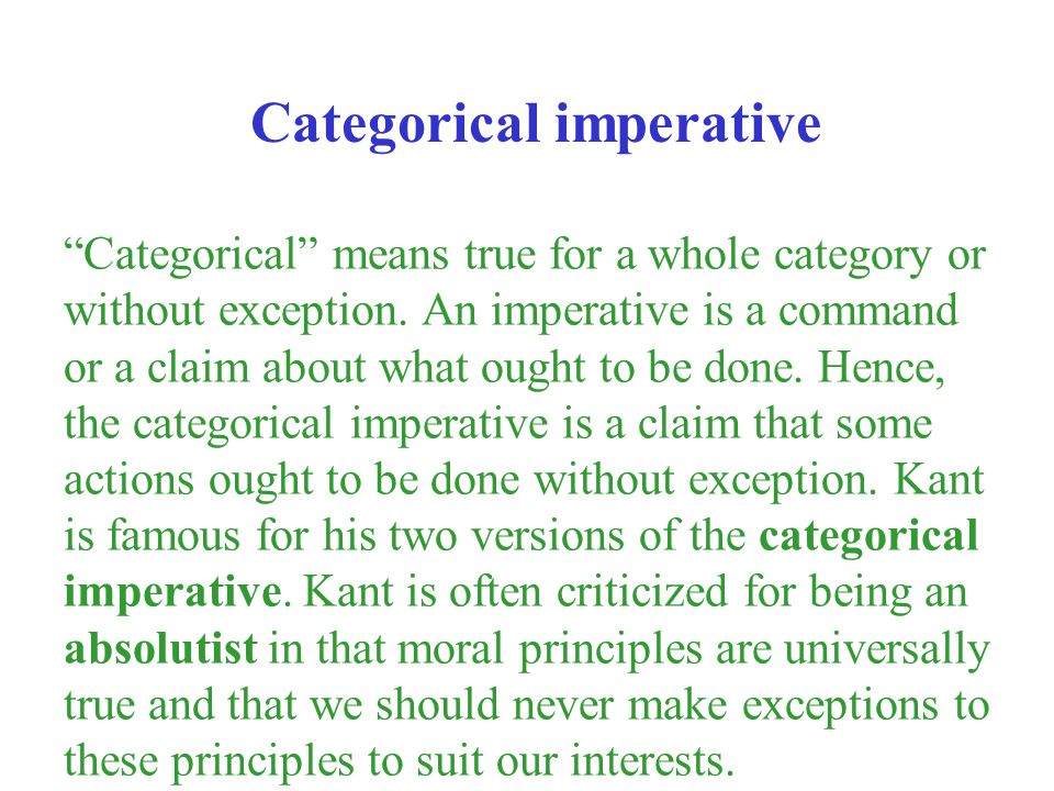 Categorical imperative