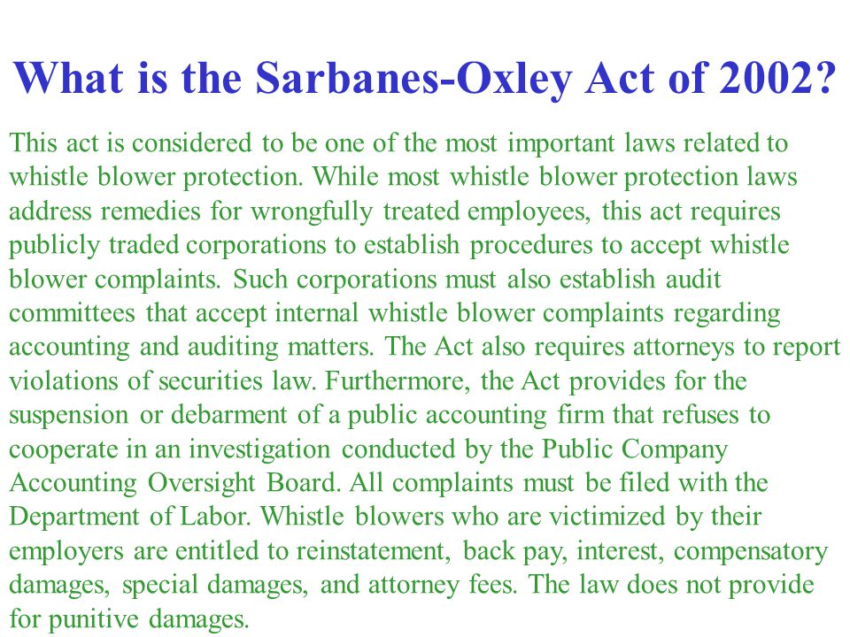 What is the Sarbanes-Oxley Act of 2002