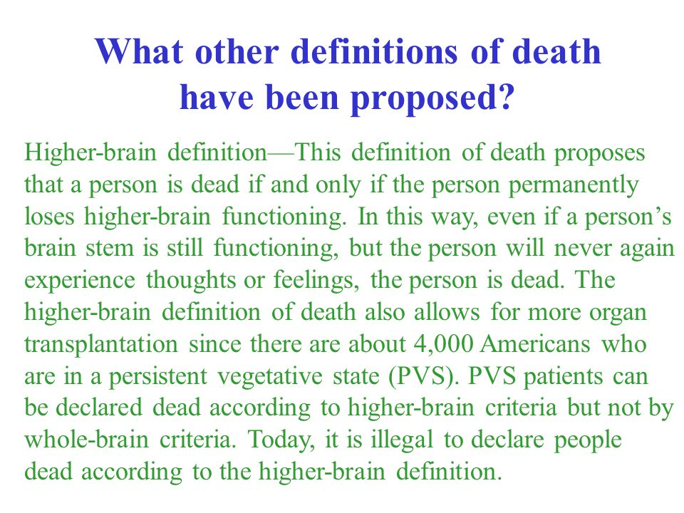 What other definitions of death have been proposed