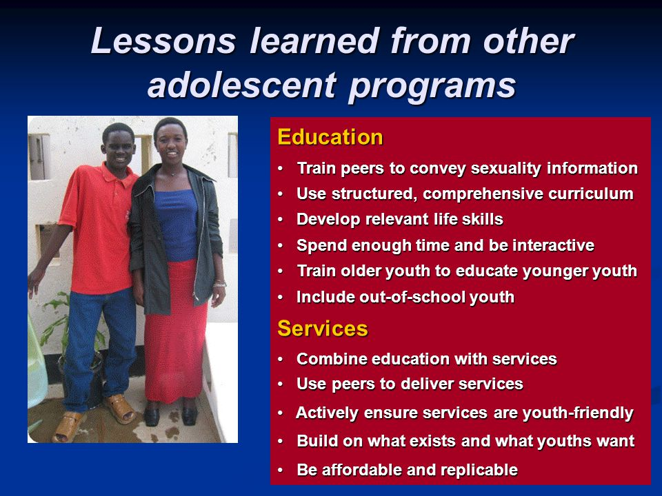 Lessons learned from other adolescent programs