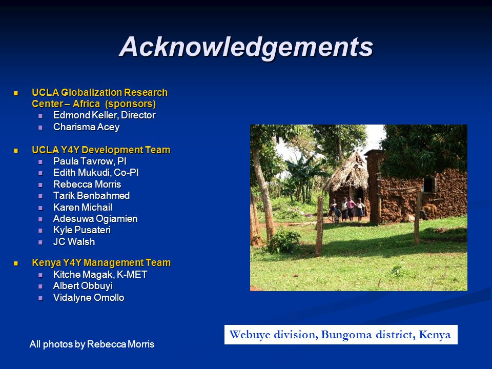 Acknowledgements Webuye division, Bungoma district, Kenya