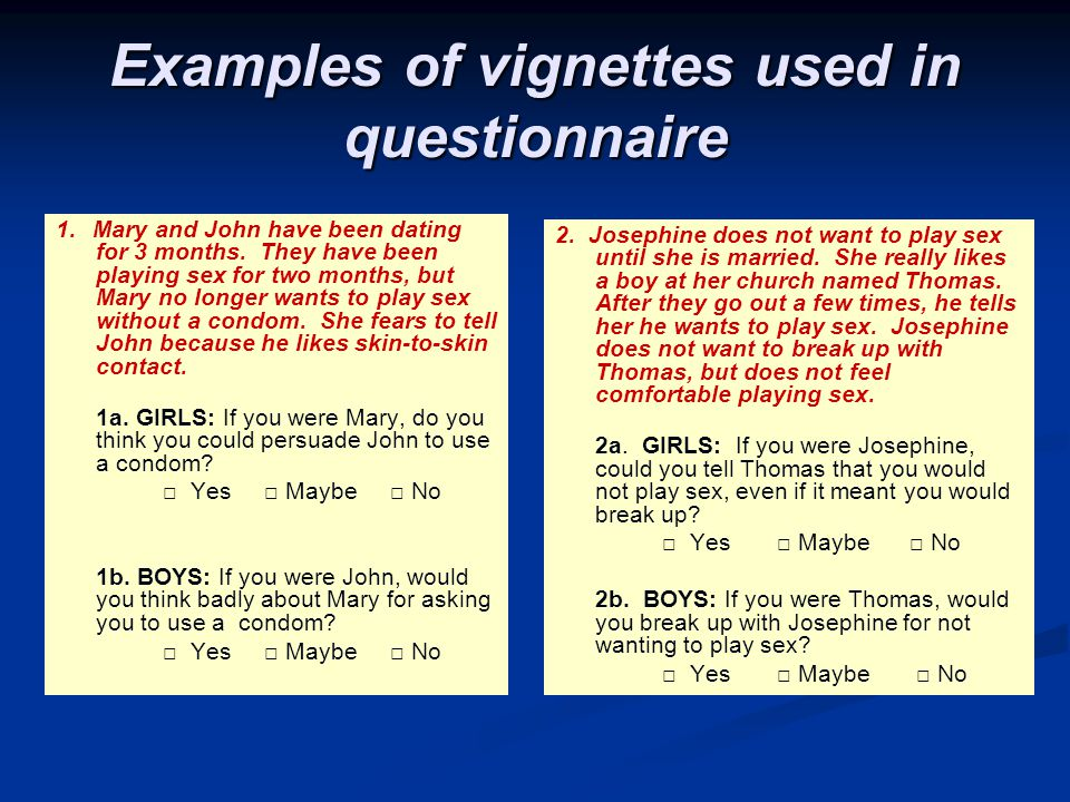 Examples of vignettes used in questionnaire