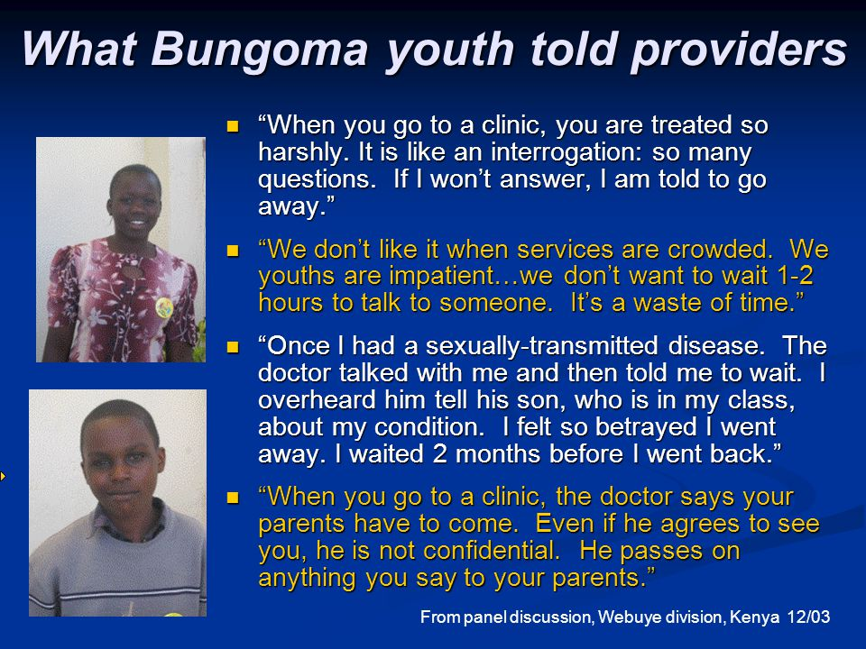 What Bungoma youth told providers