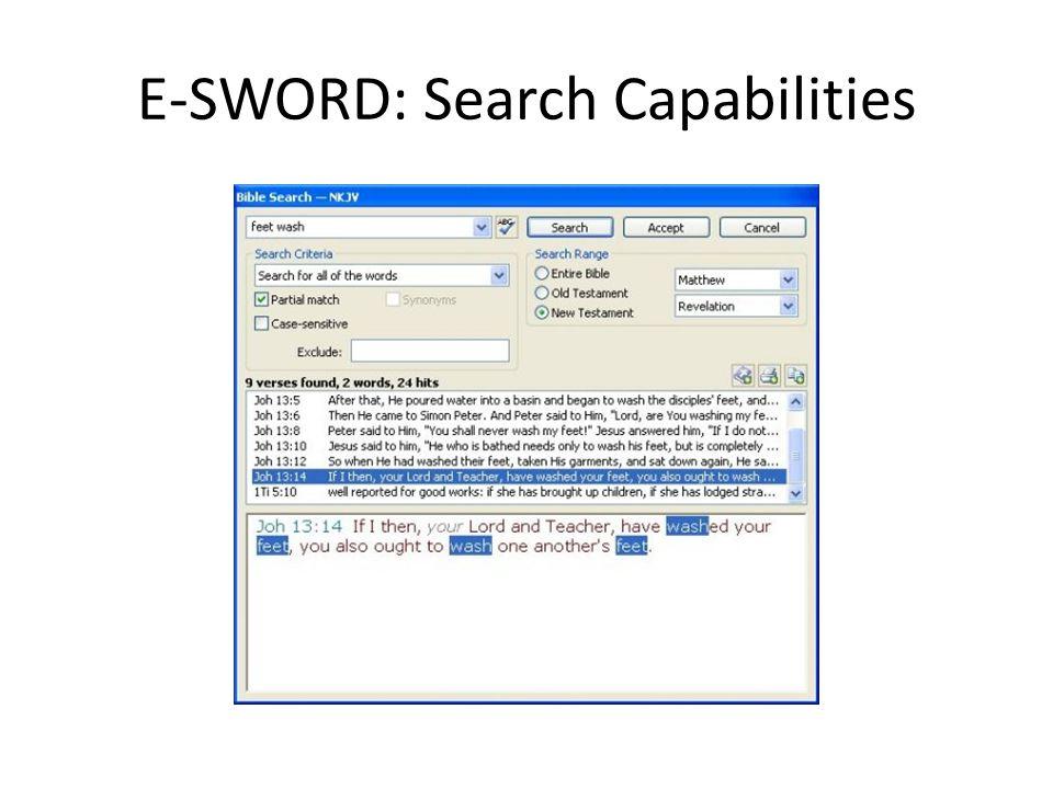 E-SWORD: Search Capabilities