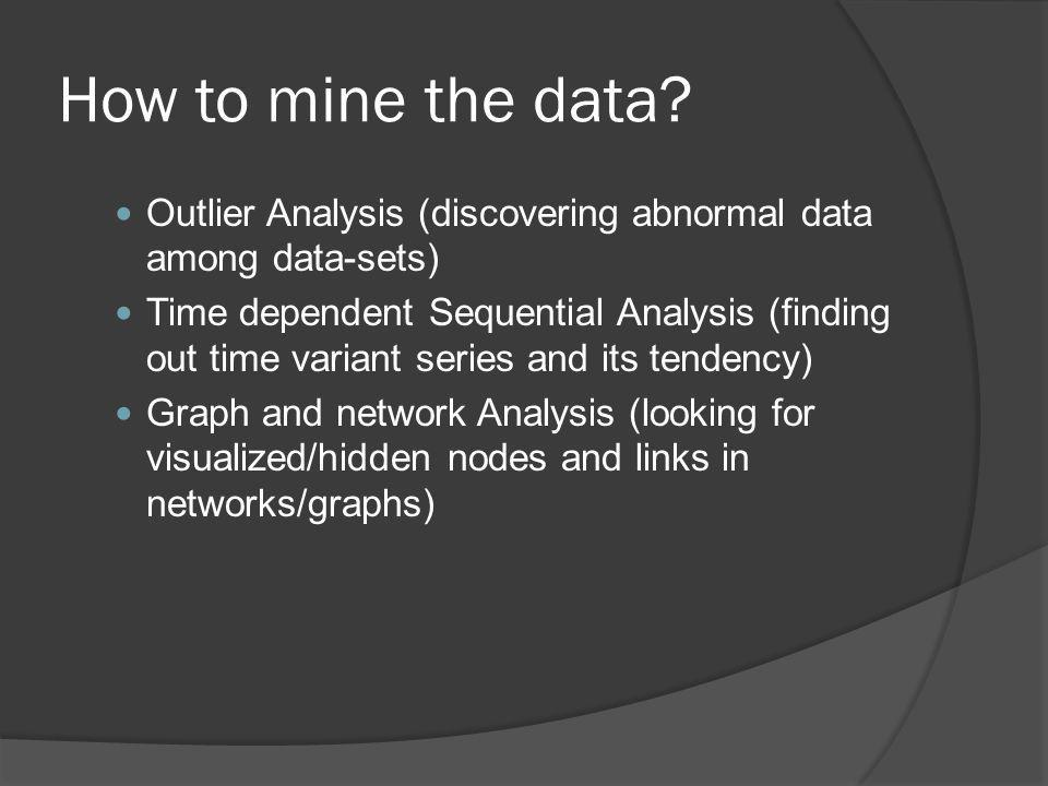 How to mine the data Outlier Analysis (discovering abnormal data among data-sets)