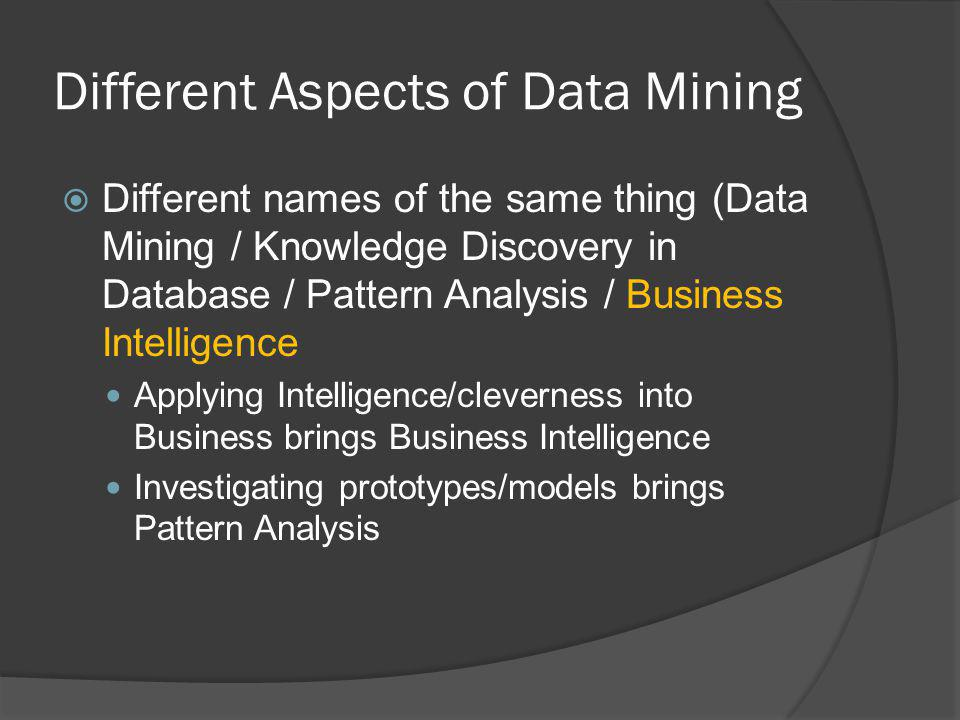 Different Aspects of Data Mining