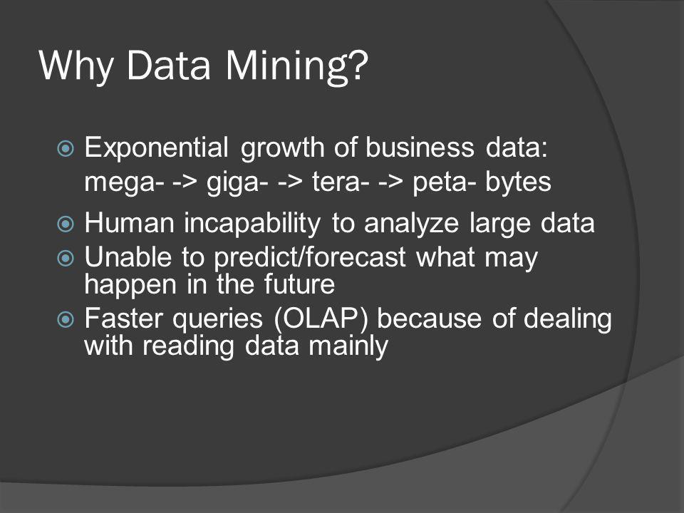 Why Data Mining Exponential growth of business data: mega- -> giga- -> tera- -> peta- bytes. Human incapability to analyze large data.