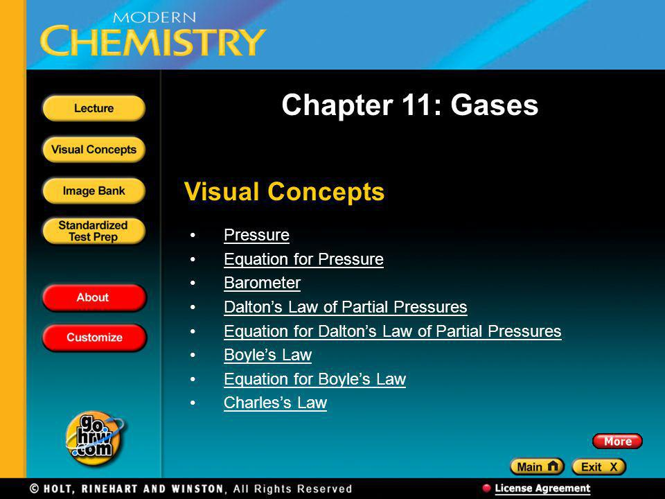 Chapter 11: Gases Visual Concepts Pressure Equation for Pressure