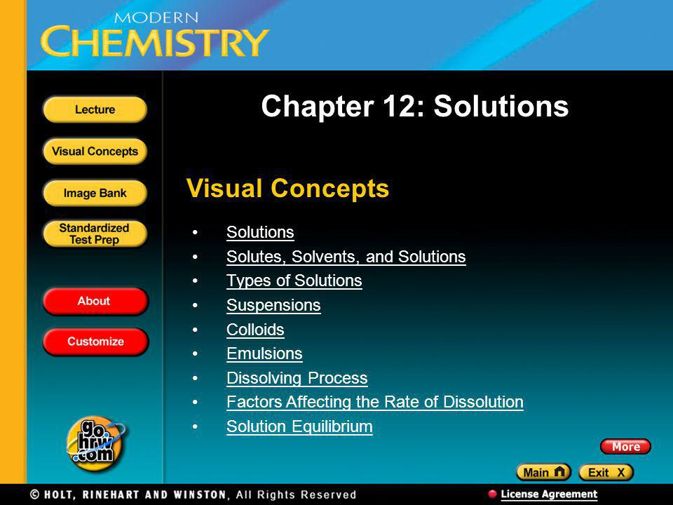 Chapter 12: Solutions Visual Concepts Solutions