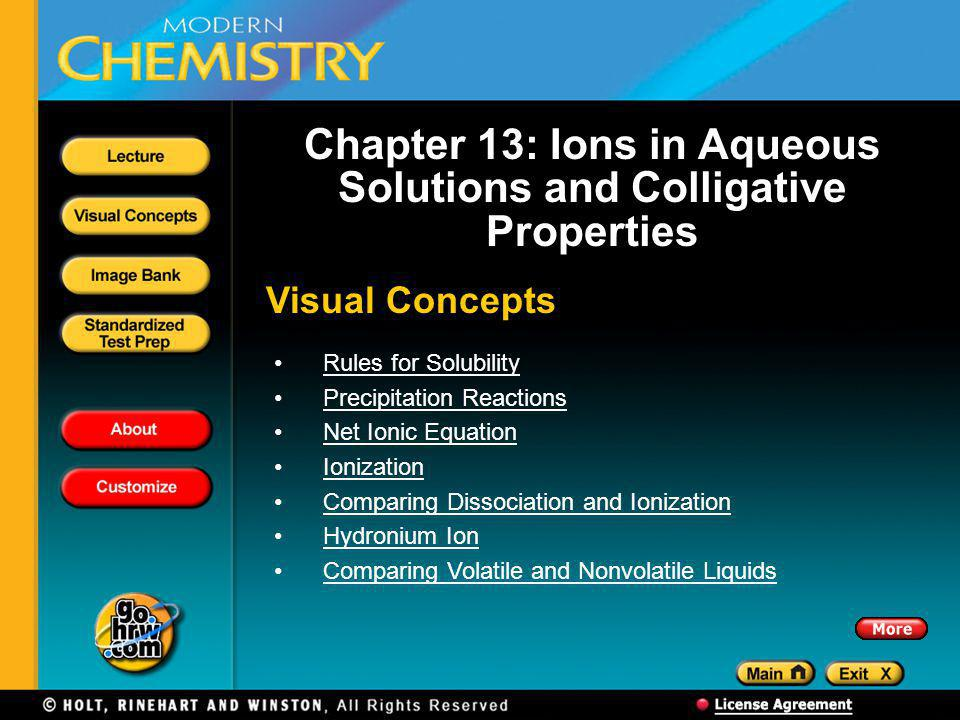 Chapter 13: Ions in Aqueous Solutions and Colligative Properties