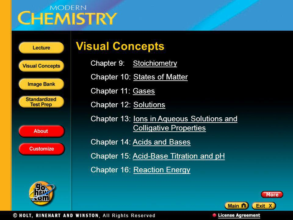 Visual Concepts Chapter 10: States of Matter Chapter 11: Gases