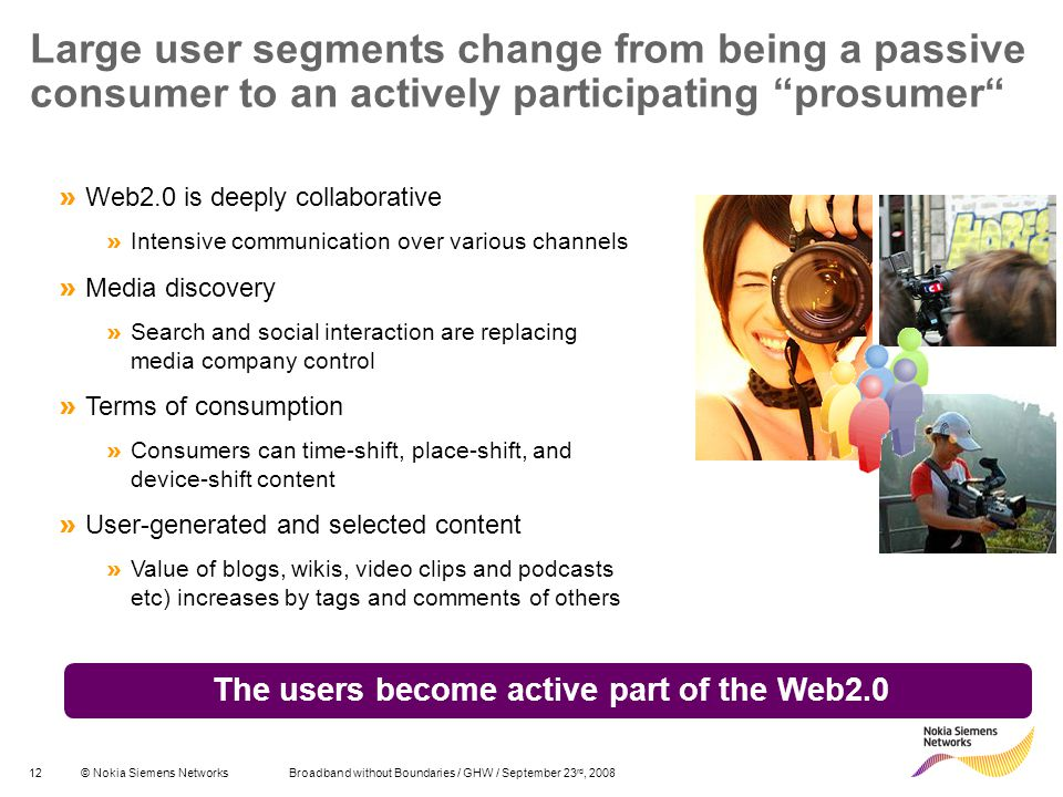 The users become active part of the Web2.0