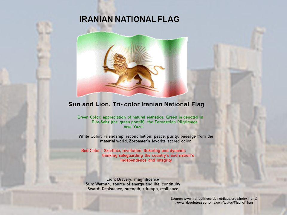 IRANIAN NATIONAL FLAG Sun and Lion, Tri- color Iranian National Flag