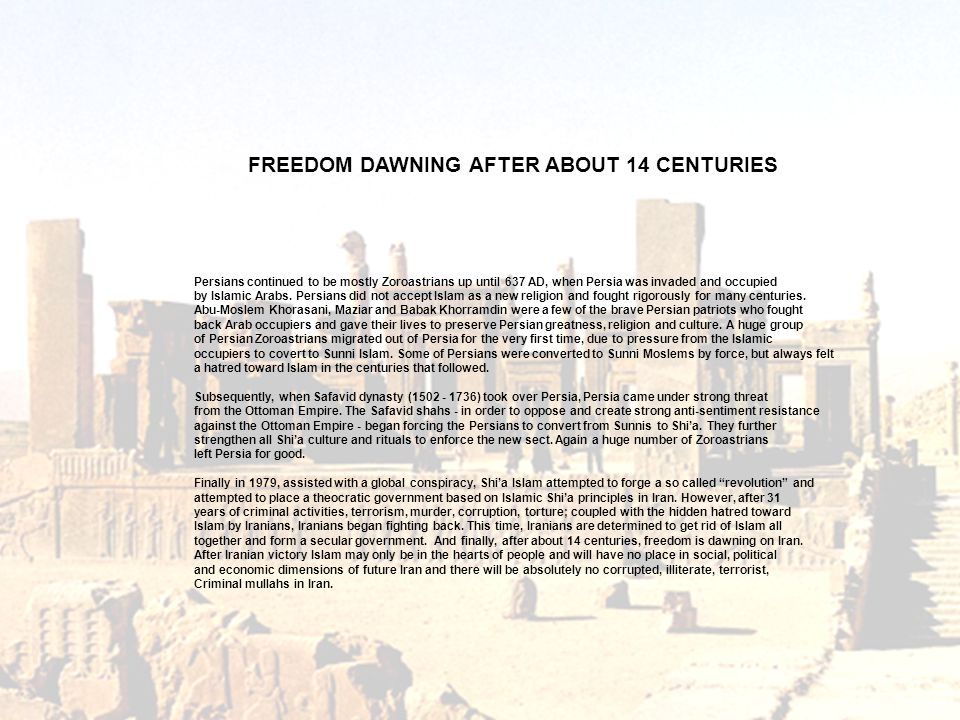 FREEDOM DAWNING AFTER ABOUT 14 CENTURIES
