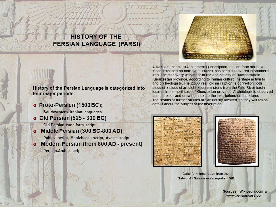 HISTORY OF THE PERSIAN LANGUAGE (PARSI)
