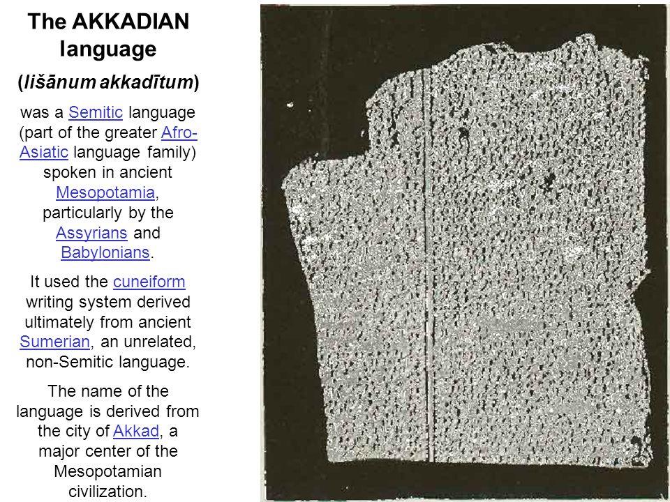 The AKKADIAN language (lišānum akkadītum)