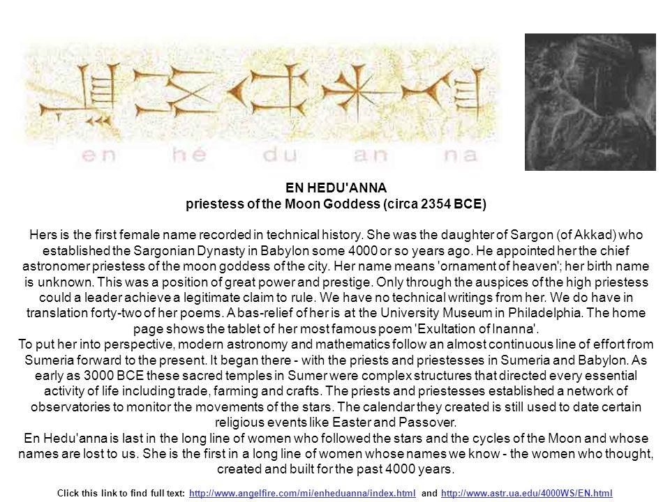 priestess of the Moon Goddess (circa 2354 BCE)
