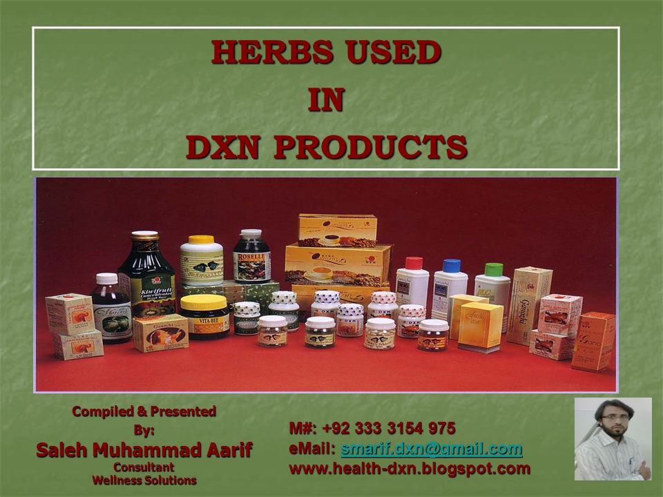 HERBS USED IN DXN PRODUCTS
