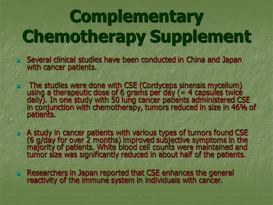 Complementary Chemotherapy Supplement