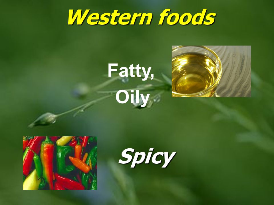 Western foods Fatty, Oily Spicy