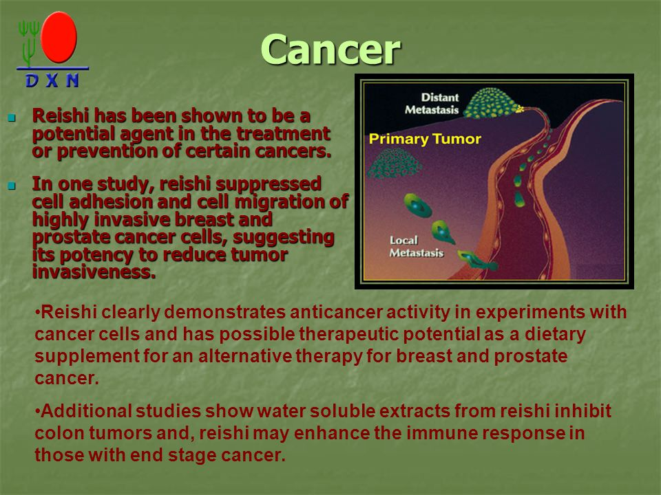 Cancer Reishi has been shown to be a potential agent in the treatment or prevention of certain cancers.