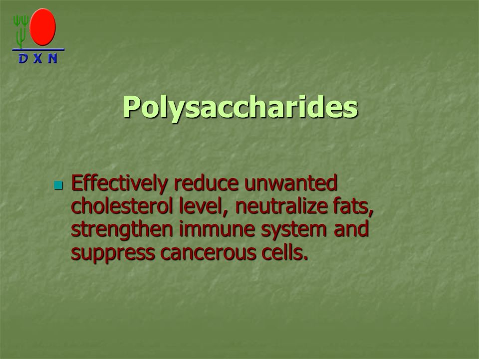 Polysaccharides Effectively reduce unwanted cholesterol level, neutralize fats, strengthen immune system and suppress cancerous cells.