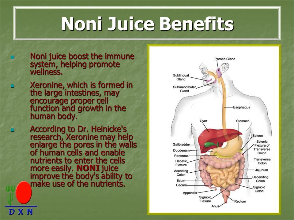 Noni Juice Benefits Noni juice boost the immune system, helping promote wellness.