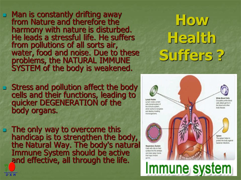 Man is constantly drifting away from Nature and therefore the harmony with nature is disturbed. He leads a stressful life. He suffers from pollutions of all sorts air, water, food and noise. Due to these problems, the NATURAL IMMUNE SYSTEM of the body is weakened.