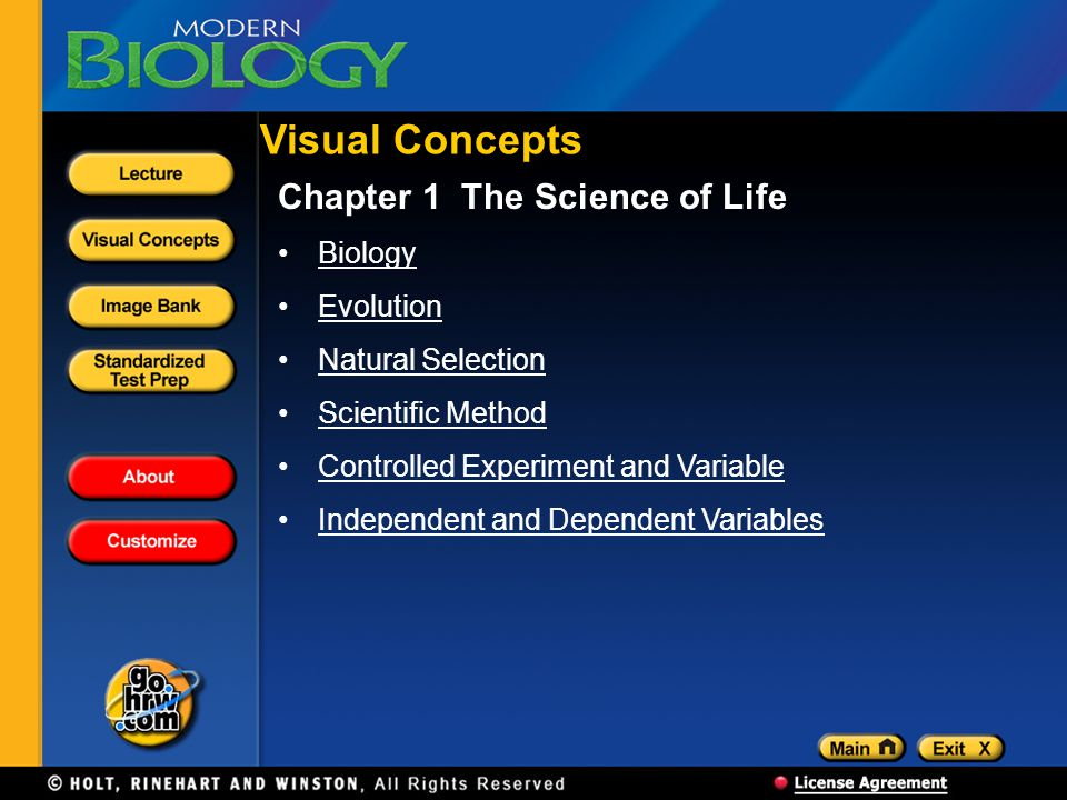 Visual Concepts Chapter 1 The Science of Life Biology Evolution