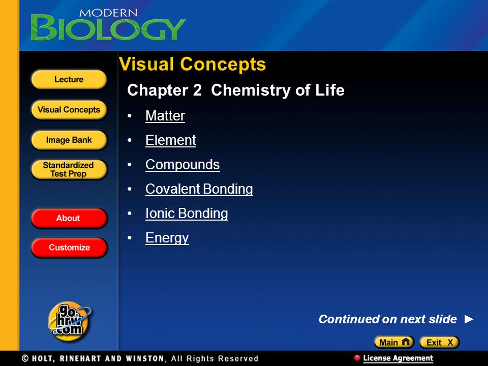 Visual Concepts Chapter 2 Chemistry of Life Matter Element Compounds