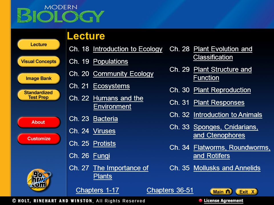 Lecture Ch. 18 Introduction to Ecology Ch. 19 Populations