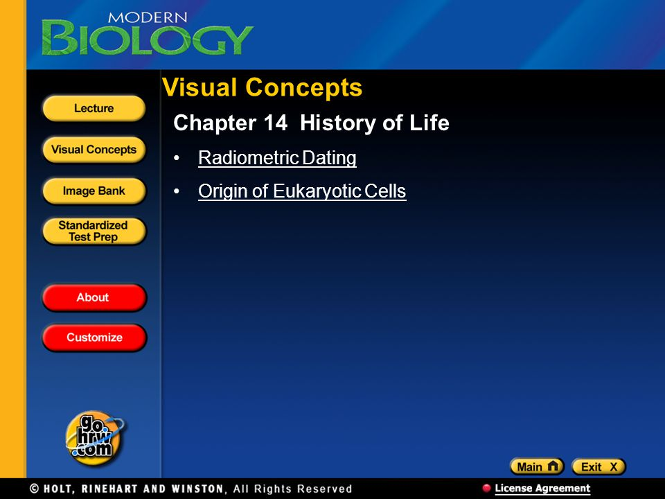 Visual Concepts Chapter 14 History of Life Radiometric Dating