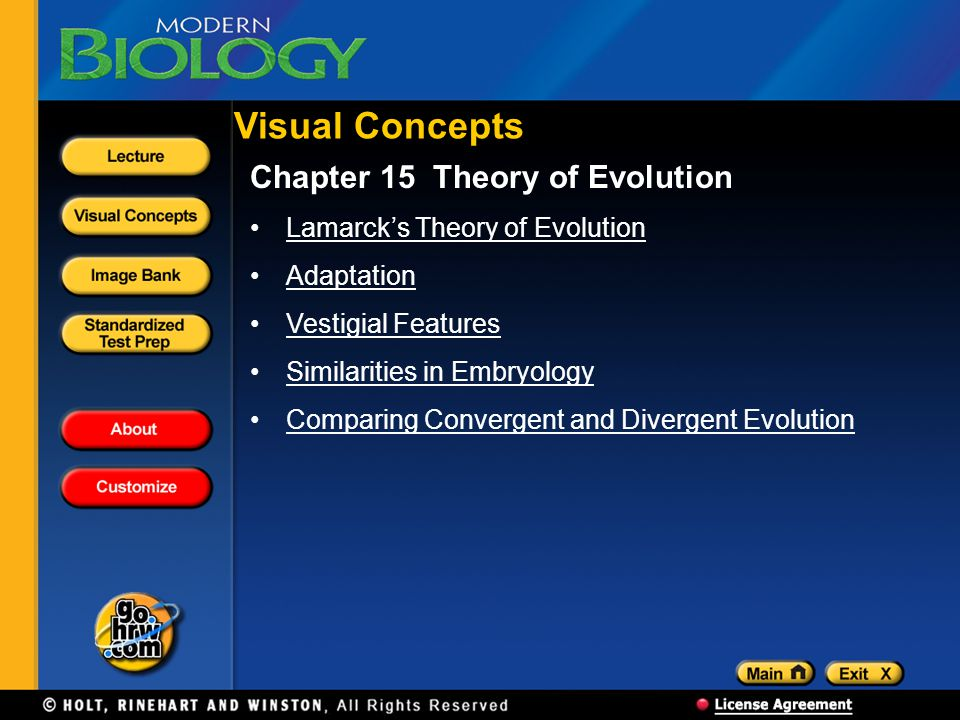 Visual Concepts Chapter 15 Theory of Evolution