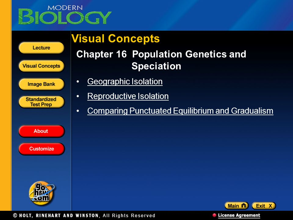 Visual Concepts Chapter 16 Population Genetics and Speciation