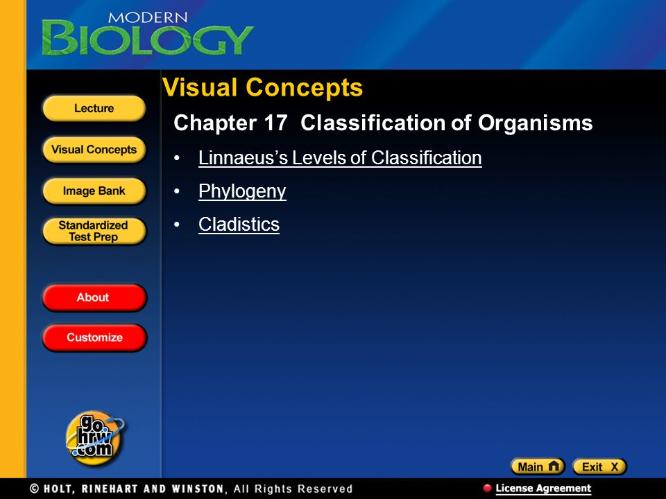 Visual Concepts Chapter 17 Classification of Organisms
