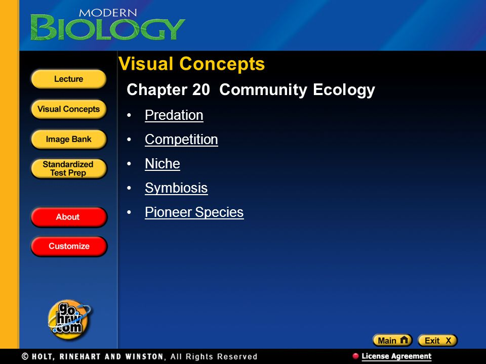 Visual Concepts Chapter 20 Community Ecology Predation Competition